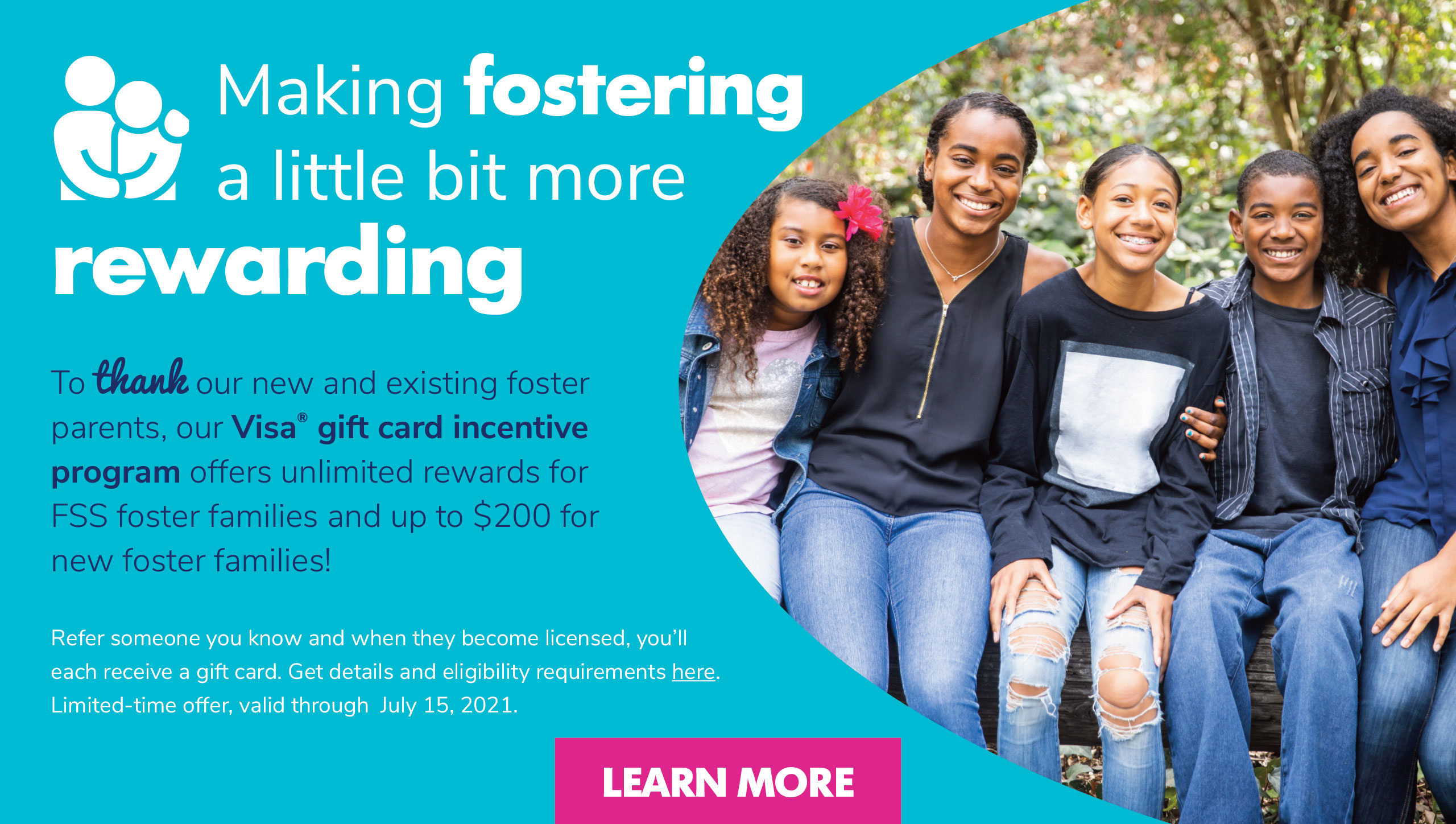Making fostering a little bit more rewarding- foster family referral program Family Support Services Jacksonville Florida